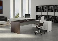 Our Modern Office Desk collection showcases some of the most stylish executive office furniture found anywhere. Reinvent your office space with our contemporary business furniture designs. Executive Office Furniture, Office Furniture Design, Office Interior Design, Office Interiors, Furniture Nyc, Furniture Companies, Glass Furniture, Cool Office Desk, Modern Office Desk