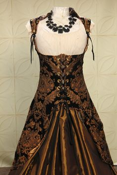 Waist 36 to 38 Black and Gold Medallion by damselinthisdress, $259.00
