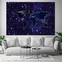 Night View Stars and World Map Large Wall Art, Canvas Wall Art, Lyrics On Canvas, Highland Cow Print, World Map Canvas, Marble Art, Red Walls, Stars At Night, View Map