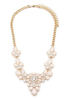 Rhinestone Flower Statement Necklace for $10.90 / FOREVER21 There are two versions of this necklace and i love them both. The pink and gold is really elegant