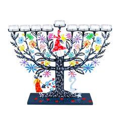 Hanukkah menorahs, Shabbat candlesticks, Hamsas, Seder plates