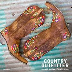 The bright floral embroidery on the warm distressed leather uppers make this a fun and festive cowgirl boot.   Country Outfitter