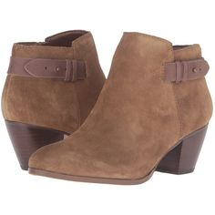 GUESS Geora (Medium Brown Suede) Women's Boots ($45) ❤ liked on Polyvore featuring shoes, boots, ankle boots, brown, brown suede boots, ankle bootie boots, zipper ankle boots and zipper boots