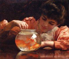 Thomas Benjamin Kennington 'Idle Hours' (aka'The Goldfish Bowl') 1892 by Plum leaves, via Flickr