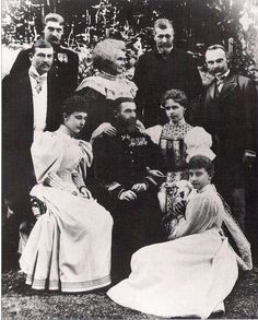 """carolathhabsburg:"""" King Carol I with consort Elisabeth aka Carmen Sylva surrounded by Duchess Charlotte of Saxe Meiningen (left) her daughter, Princess Feodora of Saxe Meiningen (sitting on the ground), Crown Princess Marie (right), his nephew. Queen Victoria Family, Princess Victoria, Queen Mary, King Queen, Michael I Of Romania, Romanian Royal Family, Princess Alexandra, Princess Charlotte, Victorian Pictures"""