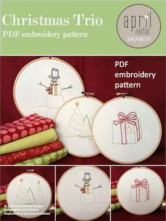 Christmas Trio PDF Hand Embroidery Pattern- Snowman, Trees, Present