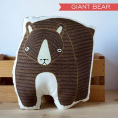 GIANT Handmade Brown Bear Pillow by Gingiber on Etsy, $50.00