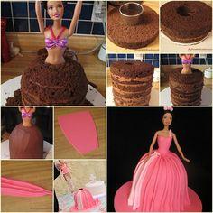 How to Make Adorable Barbie Skirt Cake tutorial and instruction. Follow us: www.facebook.com/fabartdiy