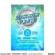 Summer BBQ / SWIMMING / MUSIC Party Invitation Summer Wedding / BBQ / SWIMMING / MUSIC Party Invitation. A Perfect Design for your Summer Party! All text style, colors, sizes can be modified to fit your needs.