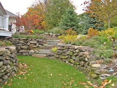 natural dry-stack stone wall with natural slab stone steps...