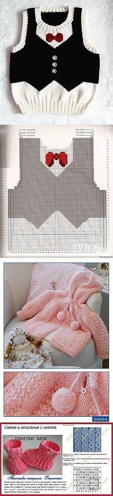Baby Knitting Patterns Sweter Blouse, vest, booties – for kids Baby Knitting Patterns, Kids Patterns, Knitting Designs, Crochet Patterns, Crochet For Boys, Knitting For Kids, Baby Outfits, Kids Outfits, Pull Bebe