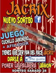 ¿quieres un cuchillo jamonero by the face-book?JACRIX, tienda del hogar en Yecla sortea entre sus fans el dia 28-12 ! hazte fan y participa !!!