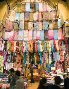 Textiles at The Grand Bazaar, Istanbul, Turkey