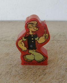 POPEYE the SAILOR MAN Bakelite Pencil Sharpener Bright Red Signed 1929 King Features Syndicate Inc. Vintage Mid 20th Century by OnceUpnTym on Etsy
