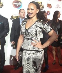 @ the Soul Train Awards #ellevarner rocks a classy african inspired 2 piece on the red carpet