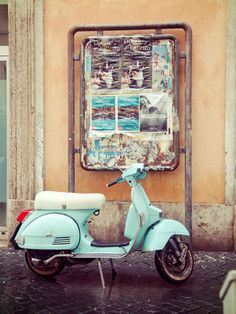 Vintage From Rome With Love: A Vespa - Bringing you the latest in global travel, Marie Claire hopped on their scooters and headed off to Rome for the week of July We experienced quite the bella adventure filled with everything from pastries to pantheons. Vintage Vespa, Vintage Bikes, Vintage Motorcycles, Vintage Cars, Triumph Motorcycles, Custom Motorcycles, Vespa Retro, Retro Scooter, Retro Cars