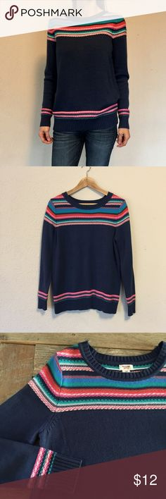 """Colorful Knit Sweater Worn once. Navy blue with threading detail at shoulders, waist and wrists in blue/green/pink/red. Soft Cotton/acrylic. Length: 27"""" Mossimo Supply Co Sweaters Crew & Scoop Necks"""