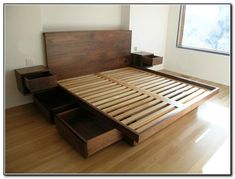 DIY Bed Frames - Enhance Your Dream with Our Amazing Floating Bed Frame Design Ideas Bed Frame With Drawers, Platform Bed With Drawers, Full Bed Frame, Bed Frame With Storage, Diy King Bed Frame, Bed Drawers, Diy Bed Frame Plans, Bed With Drawers Underneath, Rustic Wood Bed Frame