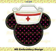 Nurse Minnie Embroidery Applique Design, Disney  Minnie Machine Embroidery, ms-020