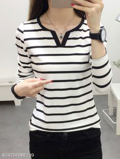 V-Neck Striped Long Sleeve Long Sleeve T-Shirts - Look Fashion Cheap Womens Tops, Casual T Shirts, Long Shirts, Casual Outfits, Look Fashion, Fashion 2016, Womens Fashion, Fashion Trends, Winter Fashion