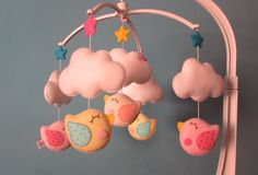 MÓBILE BERÇO Bird & Clouds.   Feltros e Firulas   Elo7
