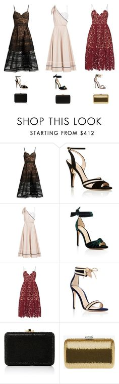 """SNL"" by lilsgrey ❤ liked on Polyvore featuring self-portrait, Nicholas Kirkwood, Anna October, Alexandre Birman, Gianvito Rossi, Judith Leiber and Prada"