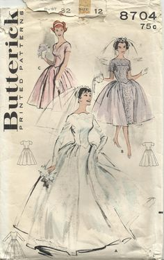 Butterick 8704 - Gorgeous Vintage 1950s Bridal Wedding Gown Sewing Pattern. £20.00, via Etsy.