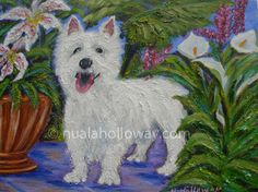 """Rosie Among the Lilies"" by Nuala Holloway - Oil on Canvas #Dog #AnimalArt #OilPainting"