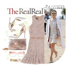 """Holiday Sparkle With The RealReal: Contest Entry"" by divine-designer ❤ liked on Polyvore featuring Chanel, Oliver Peoples, Manolo Blahnik, Lanvin, Jennifer Fisher, Winter, contestentry, TheRealReal, wintersunnies and wintershimmer"