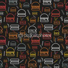 Patrón sin fisuras de colores hamburguesas y papas fritas sobre fondo gris — Vector de stock #79077356