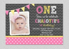 Girls 1st Birthday Invitation  Chevron Polka by TheTrendyButterfly, $15.00