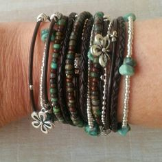 Boho Wrap Bracelet// Multistrand Brown Leather Beaded Cuff// Bohemian Jewelry// Turquoise Jewelry// Choose FOUR Charms - pinned by pin4etsy.com