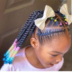 Lil Girl Hairstyles, Black Kids Hairstyles, Braided Ponytail Hairstyles, Natural Hairstyles For Kids, Cornrows Hair, 80s Hairstyles, Braids For Kids, Girls Braids, Curly Hair Styles