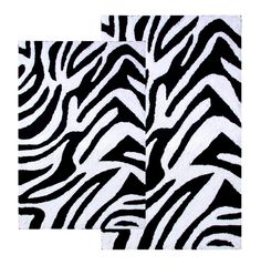 2-Piece Bath Rug Set in Black / White - Zebra - 26709 - Bathroom Accessories