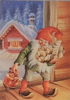 8 Pcs Postcard Vintage Christmas New Year Gnome Lars Carlsson Unused Illustration Noel, Christmas Illustration, Illustrations, Norwegian Christmas, Scandinavian Christmas, Vintage Christmas Cards, Christmas Pictures, Troll, Kobold