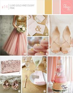 Luxe Gold and Dusky Pink. Love the bridesmaid dress