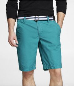 "Express Mens 10"" Producer Fit Belted Flat Front Shorts Turquoise, 34"