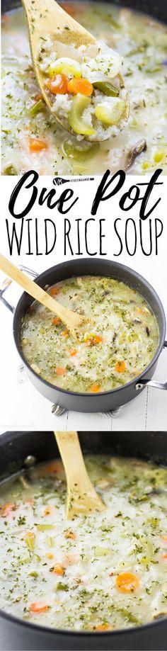 Wild Rice Soup made in One Pot - Veggiebalance.com