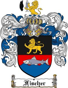 FISCHER FAMILY CREST - COAT OF ARMS gifts at www.4crests.com