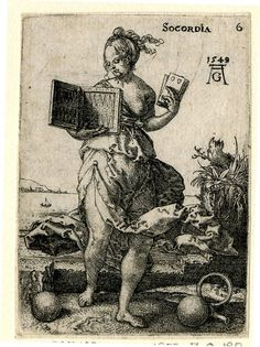 In frontal view; holding playing cards and a #backgammon board; from a series of whole-length personifications of the virtues and vices with their respective attributes. 1549    1549