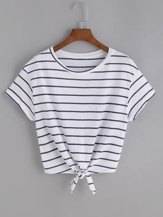 SheIn offers Striped Knot Front Tee & more t - French Shirt - Ideas of French Shirt - Shop Striped Knot Front Tee online. SheIn offers Striped Knot Front Tee & more to fit your fashionable needs.