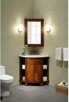 Xylem Carlton Corner Bathroom Vanity Set in Antique Maple Small Bathroom Inspiration, Small Bathroom Storage, Corner Vanity, Bathroom Inspiration, Bathrooms Remodel, Modern Bathroom Vanity, Corner Sink Bathroom, Corner Bathroom Vanity, Bathroom Vanity Designs