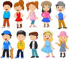 Linda niños de dibujos animados colección illustracion libre de ...