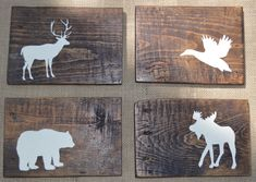 """Rustic Reclaimed Wood - Woodland Animals - Set of 4 - Rustic Nursery Decor - Planked - Grizzly bear, moose, duck, deer - 5.5x8"""""""