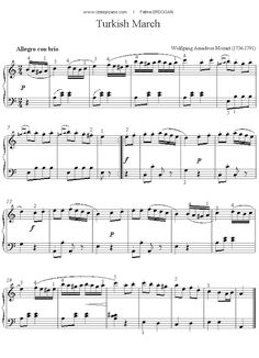 Mozart - Turkish March sheet music for Piano Piano Sheet Music Classical, Easy Piano Sheet Music, Violin Sheet Music, Piano Music, Piano Lessons, Music Lessons, Play That Funky Music, Mozart, Songs To Sing
