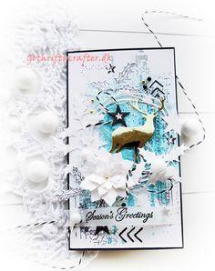 GoThriftyCrafter white blue christmas scrapbook card gold New year, Xmas Скрапбукинг, открытка Новый Год