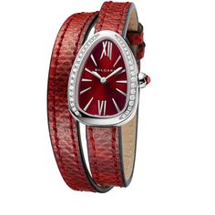 Bvlgari Serpent Twist Steel Snakeskin Wrap Watch With Diamonds (7399995 IQD) ❤ liked on Polyvore featuring jewelry, watches, red, wrap watch, bulgari jewelry, diamond watches, red jewelry and red jewellery