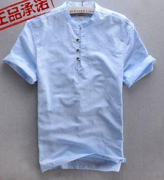 men shirt mandarin collar - Google Search Kaftan Men, Denim Fashion, Fashion Outfits, Look Man, Men Shirt, Manish, Party Shirts, White Shirts, Mandarin Collar