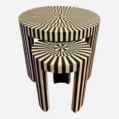 Stylish modern Made Goods Carlotta Stone Nesting Tables, black and white circular pattern, great as side tables or cocktail tables, showroom floor .