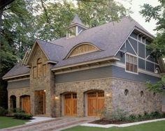 stone facade, cedar doors